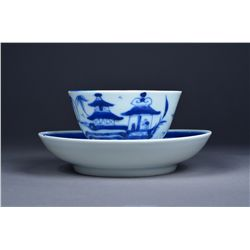 19th C. Chinese Blue & White Cup & Saucer