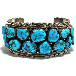 Old Pawn Sleeping Beauty Turquoise Cluster Sterling Silver Cuff Bracelet - SY