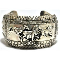 Old Pawn Navajo Trotting Horses Sterling Silver Cuff Bracelet - Emer Thompson