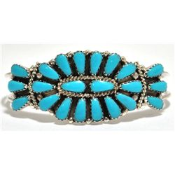 Navajo Turquoise Petit Point Sterling Silver Cuff Bracelet - Rosie Williams