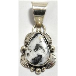 Navajo White Buffalo Sterling Silver Pendant - Mary Ann Spencer
