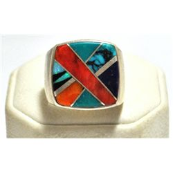 Old Pawn Multi-Stone Inlay Sterling Silver Men's Ring - TSF
