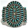 Old Pawn Turquoise Needlepoint Cluster Sterling Silver Cuff Bracelet