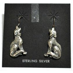 Old Pawn Sterling Silver Wolves French Hook Earrings