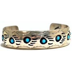 Old Pawn Navajo Turquoise Bear Paw Sterling Silver Large Cuff Bracelet - Pearlene Spencer