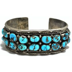 Old Pawn Turquoise Cluster Sterling Silver Cuff Bracelet - IS