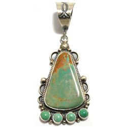 Navajo Green Fox Turquoise Sterling Silver Pendant - Dean Brown