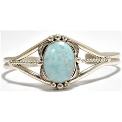 Navajo Larimar Sterling Silver Cuff Bracelet - Mary Ann Spencer
