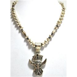 Old Pawn Navajo Sterling Silver Kachina Necklace - R. Singer