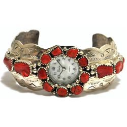 Old Pawn Navajo Coral Sterling Silver Cuff Bracelet Women's Watch - T. Benally