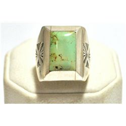 Old Pawn Navajo Pale Mountain Turquoise Sterling Silver Men's Ring - H. Spencer