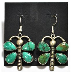 Old Pawn Navajo  Turquoise Dragonfly Sterling Silver French Hook Earrings - Rocki Gorman