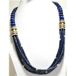 Navajo 7-Strand Lapis Lazuli & 12k Gold Fill Sterling Silver Necklace - Tommy Singer