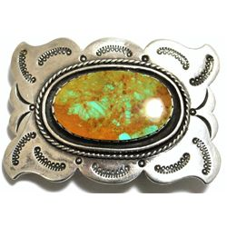 Old Pawn Green Fox Turquoise Sterling Silver Buckle