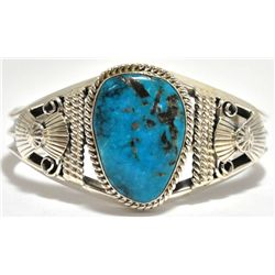 Navajo Turquoise Sterling Silver Cuff Bracelet - Mary Ann Spencer
