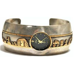 Old Pawn 12k Gold Fill Sterling Silver Storyteller Cuff Bracelet Women's Watch - LN
