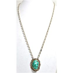 Old Pawn Spider Web Turquoise Sterling Silver Neckalce - RY