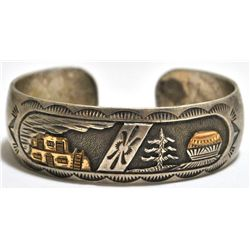 Old Pawn Navajo 12k Gold Fill over Sterling Silver Storyteller Cuff Bracelet - Mike Smith