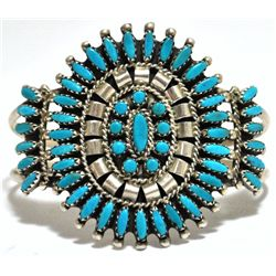 Old Pawn Zuni Turquoise Needlepoint Cluster Sterling Silver Cuff Bracelet - N & R Nez
