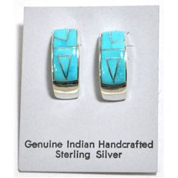 Navajo Turquoise Curved Sterling Silver Post Earrings - Calvin Begay