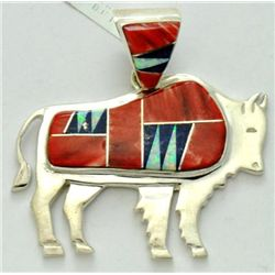 Navajo Multi-Stone Large Bull Sterling Silver Pendant - Calvin Begay