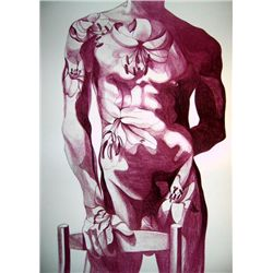 Lowell Nesbitt Signed Art Print Litho 1979 Gay Nude 6