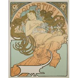 Alphonse Mucha : Bare Breasted Woman Art Print Nude