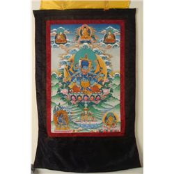Buddhist & Hindu Silk Screen Scroll Tapestry w/Shiva