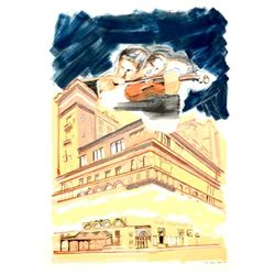 Larry Rivers Signed Print Sky Music Over Carnegie Hall