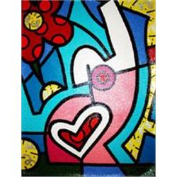 Jozza Original Pop Art Painting Hearts and Flowers