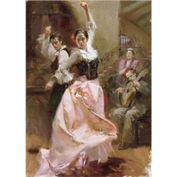 Pino Signed Art Print on Canvas Dancing in Barcelona