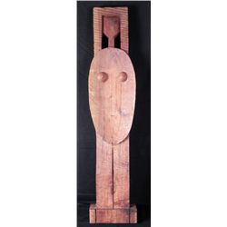 Primitive Tiki Woman Hand Carved Wooden Sculpture