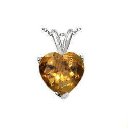 Natural 2.10 ctw Citrine Heart Pendant .925 Sterling
