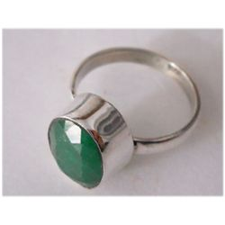 Natural 17.95 ctw Emerald Oval Ring .925 Sterling
