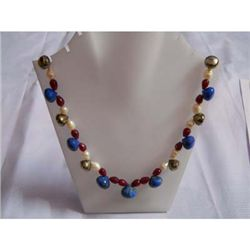 380.0 ctw Lapis Ruby and Pearl Necklace .925 Sterling