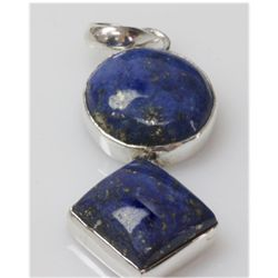 Natural 7.40 g Lapis Oval/Square .925 Sterling Pendant
