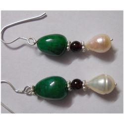 Natural 28.00ct Emerald/Pearl Earring .925 Sterling