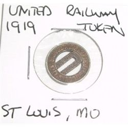 1919 UNITED RAILWAY - St. Louis, MO *TOKEN*!!