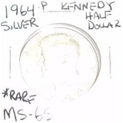 1964-D Silver Kennedy Half Dollar *RARE MS-65 HIGH GRADE*!!