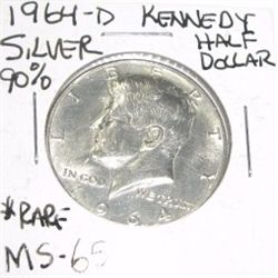 1964-D Kennedy SILVER Half Dollar *VERY RARE MS-65 HIGH GRADE*!!