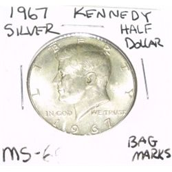 1967 Kennedy SILVER Half Dollar *VERY RARE MS-65 HIGH GRADE* Bag Marks!!