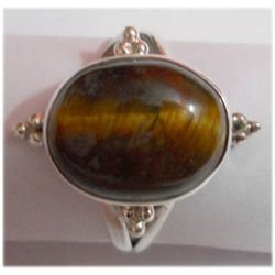 Naturtal 23.55 ctw Tiger Eye Oval Ring 925 Sterling