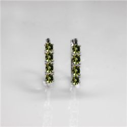 NATURAL 4.00 CTW PERIDOT EARRINGS .925 STERLING SILVER