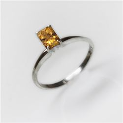 Natural 4.15 ctw Citrine Emerald Cut .925 Sterling Ring