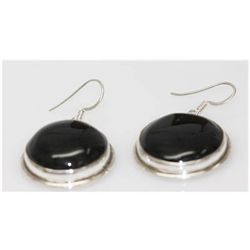 Natural 76.80 Ctw Black Onex Earrings .925 Sterling