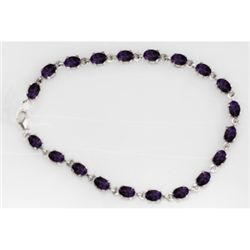NATURAL 11.00 CTW AMETHYST OVAL BRACELET .925 STERLING