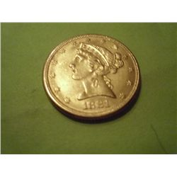 1881 $5 GOLD LIBERTY
