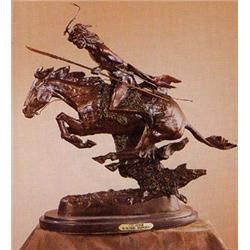 "Cheyenne Bronze Remington Sculpture, size 16""x12"""