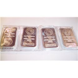 FOUR 1 OZ .999 PURE SILVER BARS W/MORGAN DOLLAR DESIGN