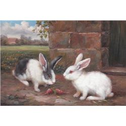 5 x 7 Oil on Board ~Bunnies at Play~ Signed C.Granet